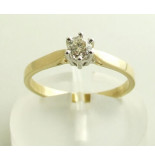 Christian Geel gouden diamanten ring met klauwzetting wit goud