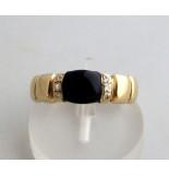 Christian Gouden ring met onyx geel goud