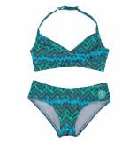 Zee & Zo Zee & zo halter meisjes bikini tulip feather blue blauw