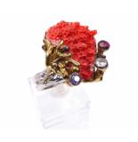 Christian Zilveren ring met sponskoraal geel goud
