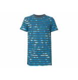 Petrol Industries Shirt korte mouw streep b- blauw