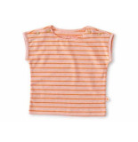 Little Label Shirt korte mouw orange stripe roze