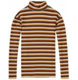 Maison Scotch 148539 18 high neck long sleeve striped tee combo b