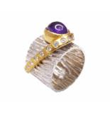 Christian Zilveren amethyst ring met zirkonia geel goud