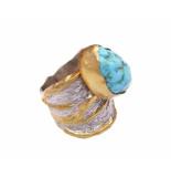 Christian Zilveren ring met turkoois geel goud