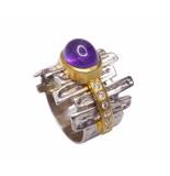 Christian Zilveren ring met amethyst en zirkonia geel goud