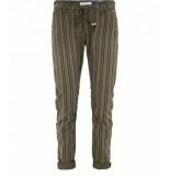 Summum 4s1545-10621 651 women broek striped twill jungle green groen