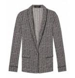 Maison Scotch 148416 0605 drapey blazer in zig zag print combo z