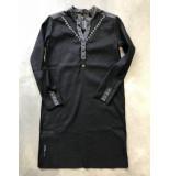 Zip73 W417-06-01 jurk linnen lace studs zwart