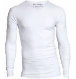 Garage Bodyfit t-shirt v-neck l/s white wit