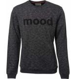 No Excess Sweater, r-neck, 2 coloured, chest black zwart
