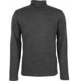 No Excess Pullover roll neck, 2 colour twiste dk grey grijs