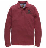 PME Legend Long sleeve polo space pique chocolate truffle rood