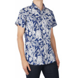 Noize Shirt,all over printed blauw