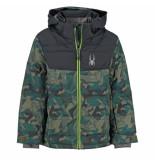 Spyder Camo print ski jas boy's clutch met 10.000mm waterkolom zwart