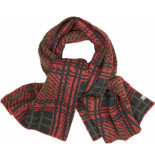 No Excess Scarf, check jacquard 3 coloured stone red rood