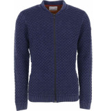 No Excess Pullover, full zip bomber, jacquard night blauw