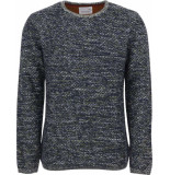 No Excess Pullover r-neck, hvy multi col jacq olive blauw