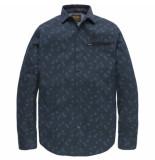 PME Legend Psi187204 5281 long sleeve shirt poplin print noper salute blauw