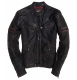 Superdry Sd endurance indy leather circuit jacket zwart