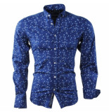 Carisma Heren overhemd met trendy design slim fit stretch donker blauw