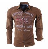 Geographical Norway Heren overhemd zolduc slim fit bruin