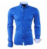 RDX Heren overhemd slim fit stretch donker blauw