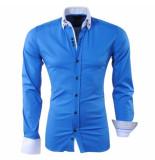 RDX Heren overhemd dubbele kraag paisley slim fit stretch donker blauw