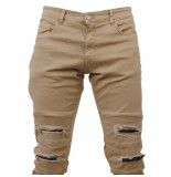 Hite Couture Heren jeans damaged look slim fit stretch kolter lengte 32 beige