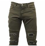 Hite Couture Heren jeans damaged look slim fit stretch kolter lengte 32 khaki