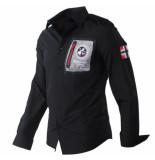 Geographical Norway Heren overhemd borstzak slim fit zitor zwart