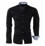 RDX Heren overhemd biker look slim fit stretch zwart
