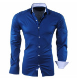 RDX Heren overhemd biker look slim fit stretch blauw