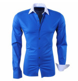 RDX Heren overhemd slim fit stretch donker blauw