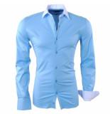 RDX Heren overhemd slim fit stretch licht blauw