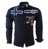 Geographical Norway Heren overhemd slim fit zadock blauw