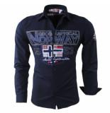 Geographical Norway Heren overhemd slim fit zlacier blauw