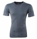 Paname Brothers Heren tshirt ronde hals holes slim fit tavo donker grijs