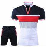 Paname Brothers Heren polo & short complete set slim fit seny blauw