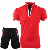 Paname Brothers Heren polo & short complete set slim fit silvio rood
