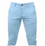 Paname Brothers Heren chino slim fit stretch john lengte 34 sky blue blauw