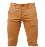 Paname Brothers Heren chino slim fit stretch john lengte 34 bruin