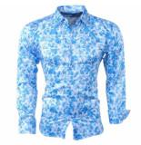Pradz 2018 Heren overhemd bloemen slim fit blauw
