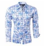 Pradz 2018 Heren overhemd bloemen geblokt slim fit wit