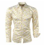 Pradz 2018 Heren overhemd smileys slim fit geel