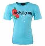 Nickelson Heren tshirt ronde hals damaged look rozen paint splash blauw