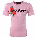 Nickelson Heren tshirt ronde hals damaged look paint splash roze
