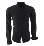 Indicode Heren overhemd borstzakken slim fit gonzalo zwart