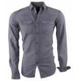 Indicode Heren overhemd borstzakken slim fit gonzalo donker grijs