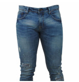Indicode Heren jeans damaged look slim fit stretch lengte 34 uppsala light denim blauw